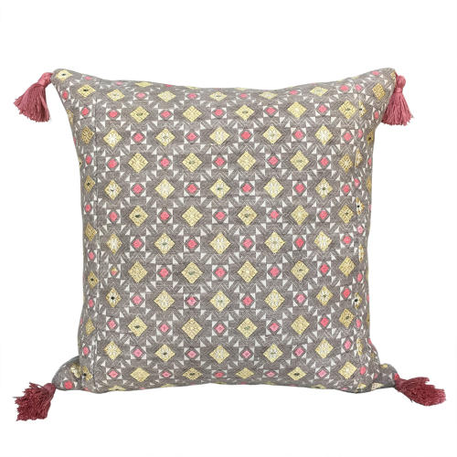 Zhuang Wedding Blanket Cushion with Pink Tassels