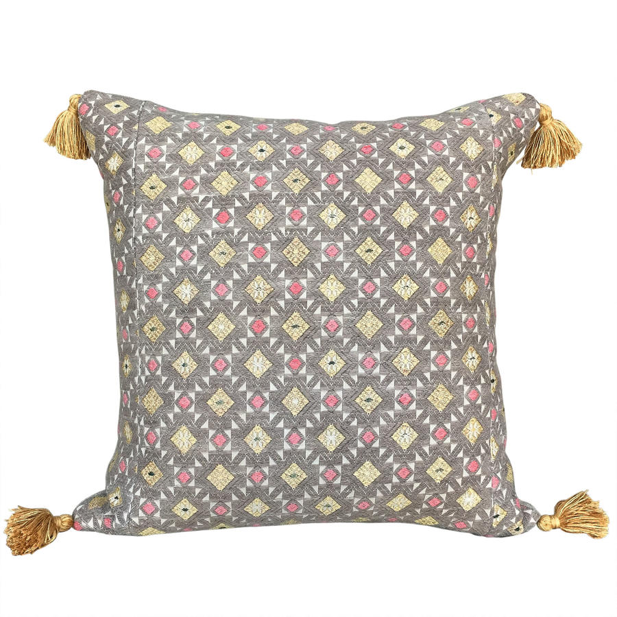 Zhuang Wedding Banket Cushion with Yellow Tassels