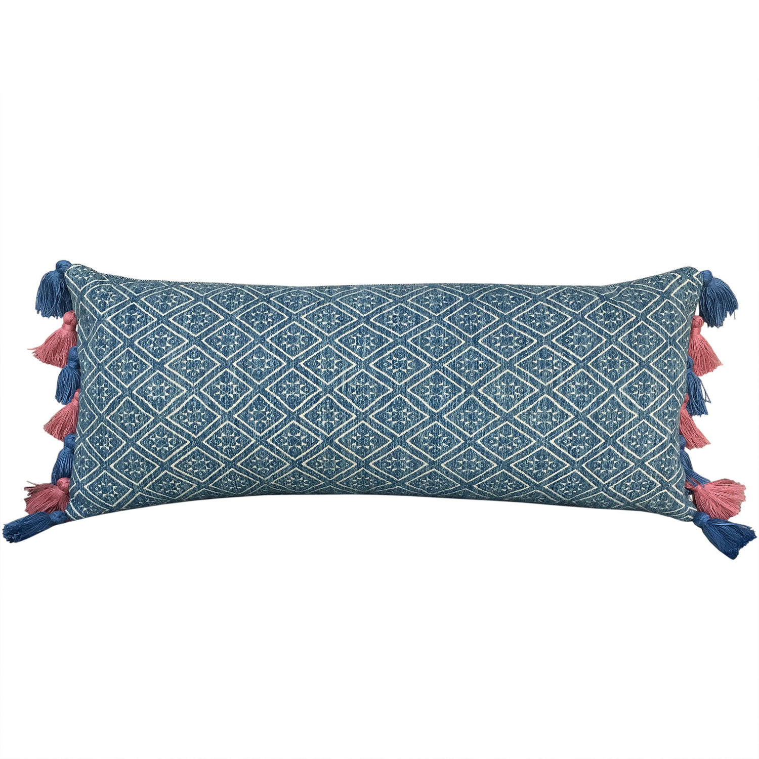 Zhuang Cushion with Pink & Blue Tassels