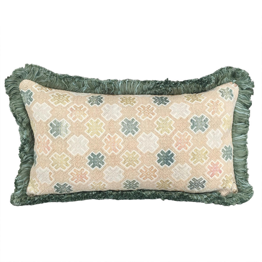 Zhuang Cushion with Green Fringe Trim