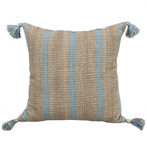 Yoruba Cushions with Blue Stripes & Tassels