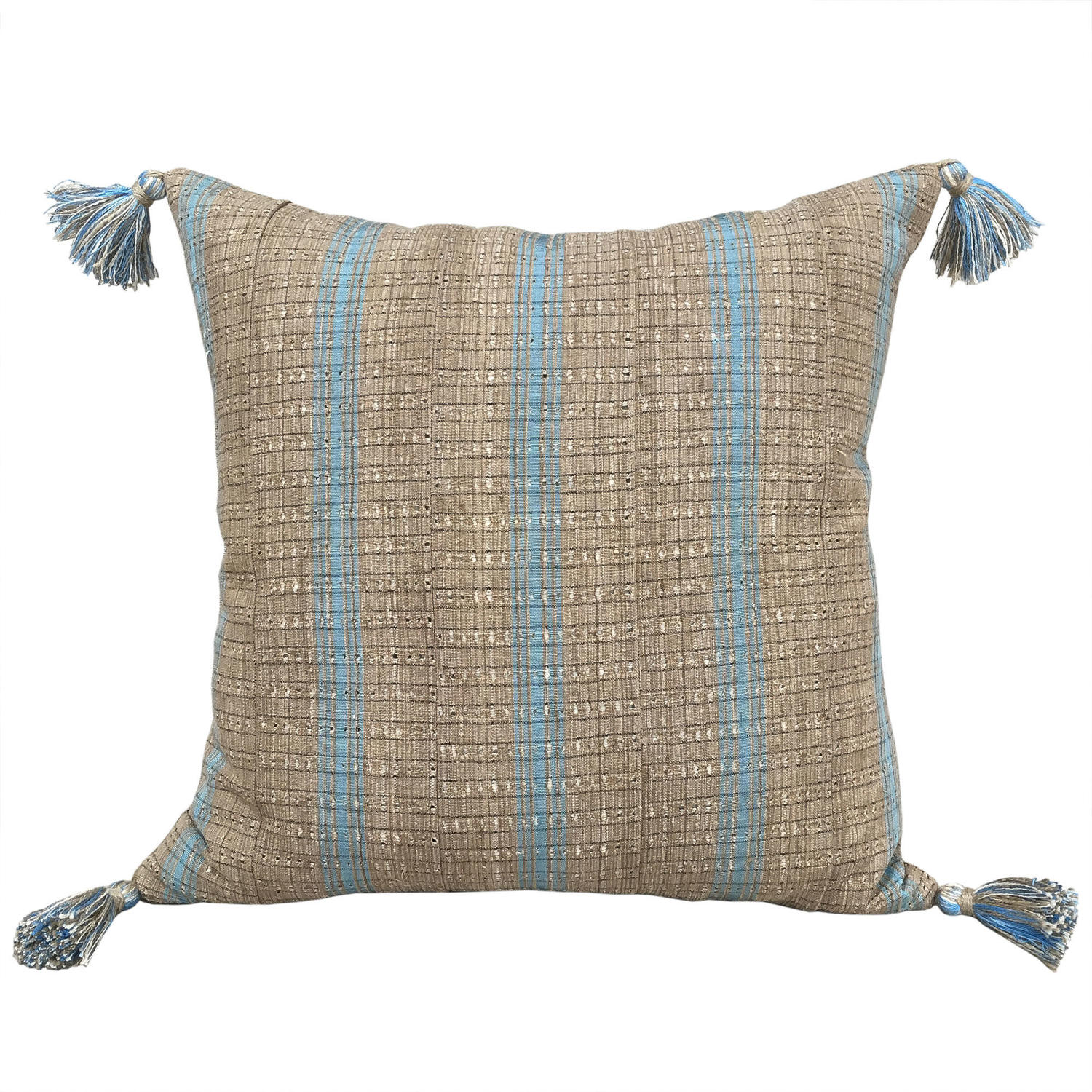 Yoruba Cushions with Blue Stripes & Tassels