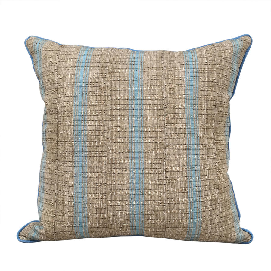 Yoruba Cushions with Blue Piping