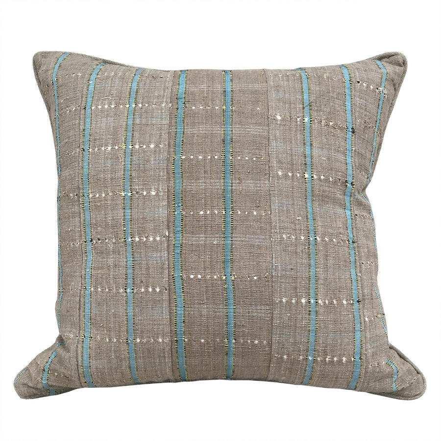 Yoruba Cushions with Blue Stripe