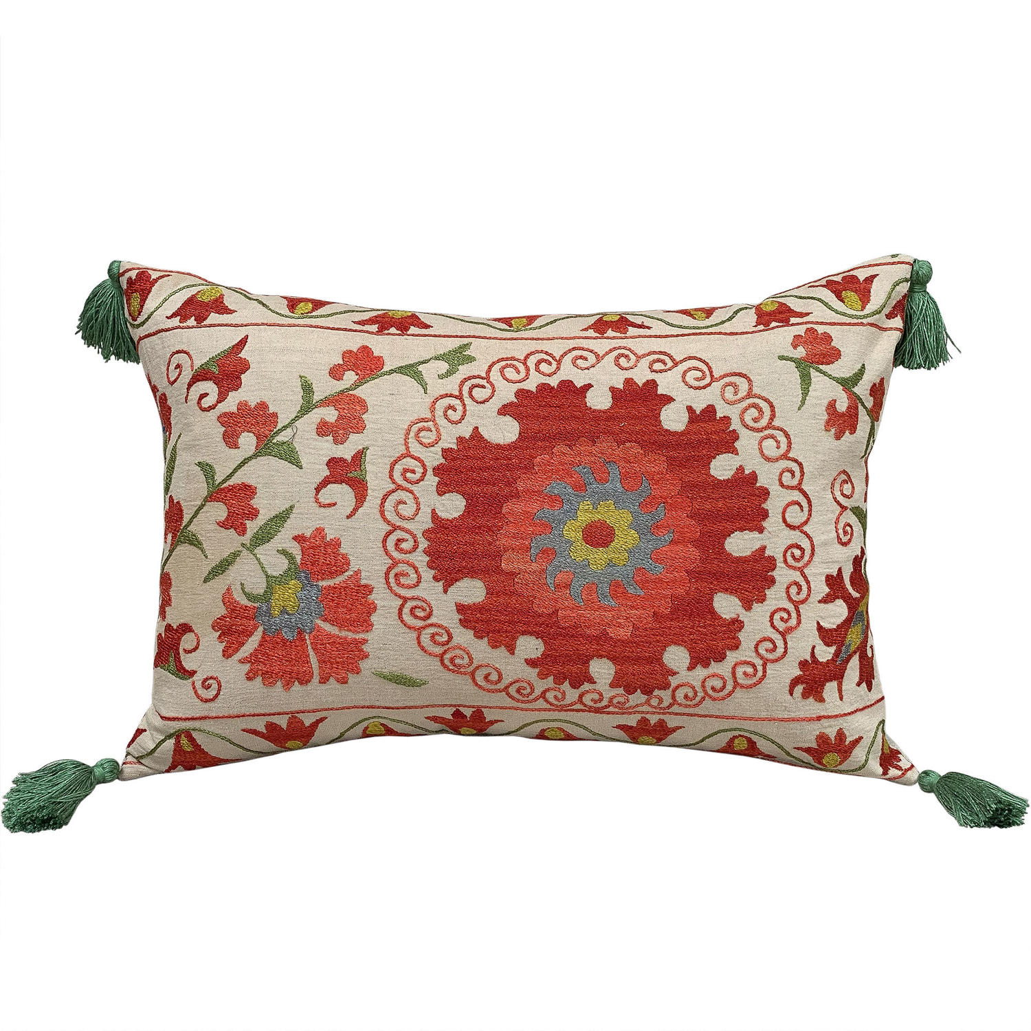 Suzani Cushions with Green Tassels