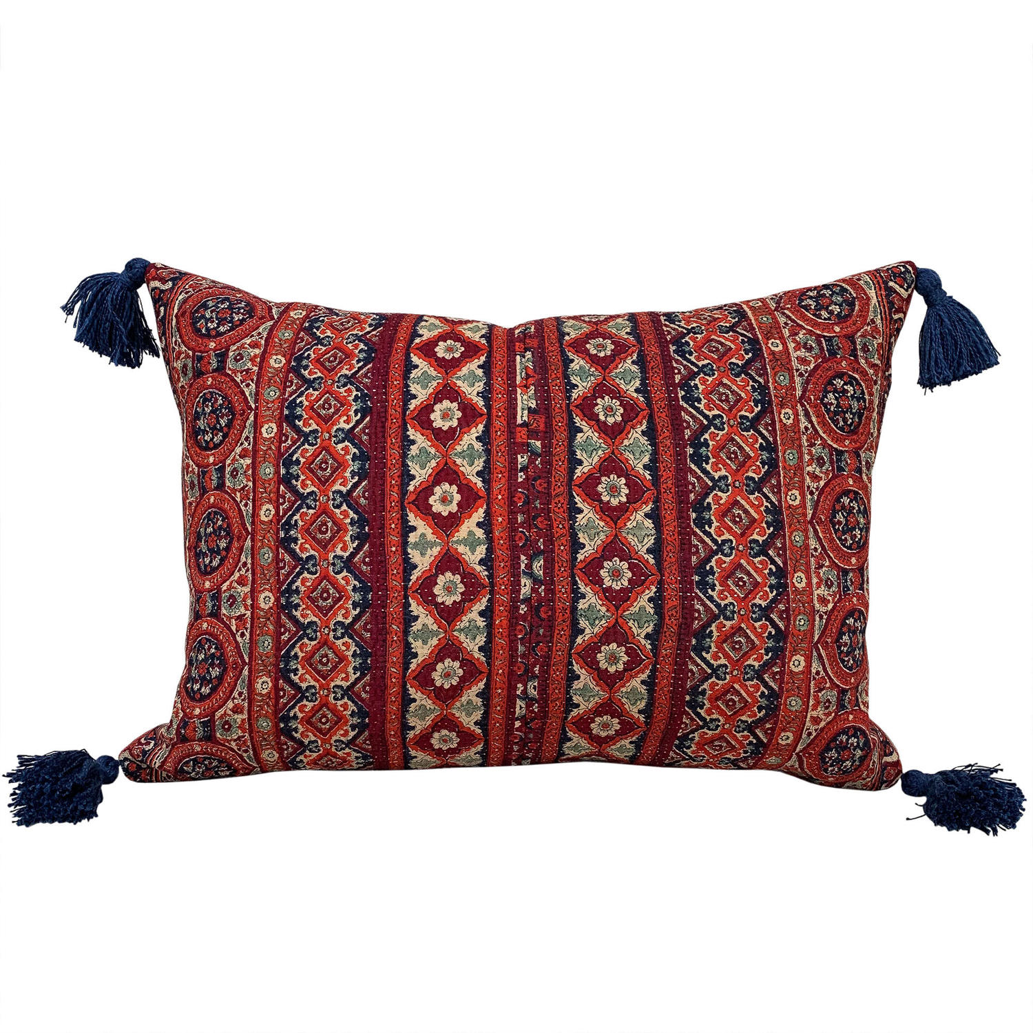 Sami Quilt Cushions with Blue Tassels