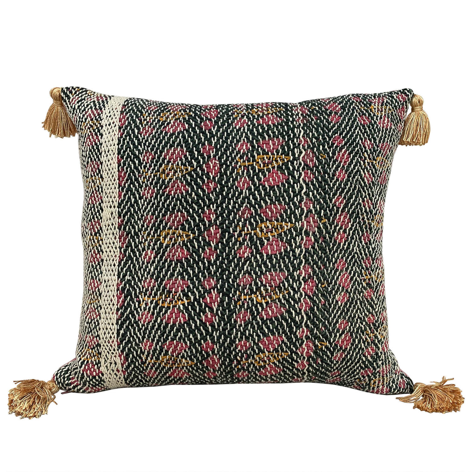 Green and Pink Banjara Cushions with Tassels
