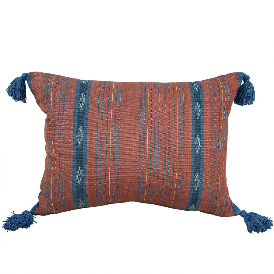 Flores Ikat Cushions with Blue Tassels