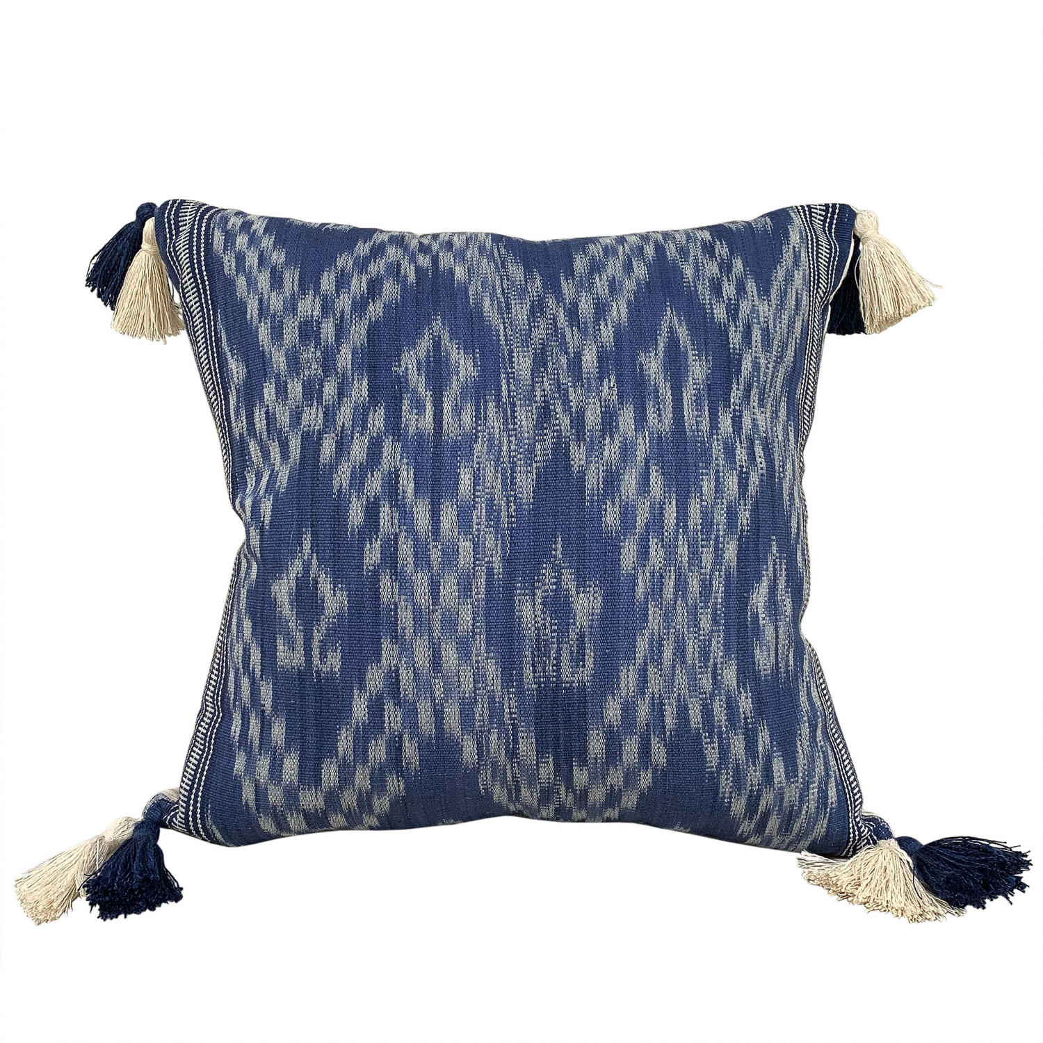 Ikat cushions with double tassels