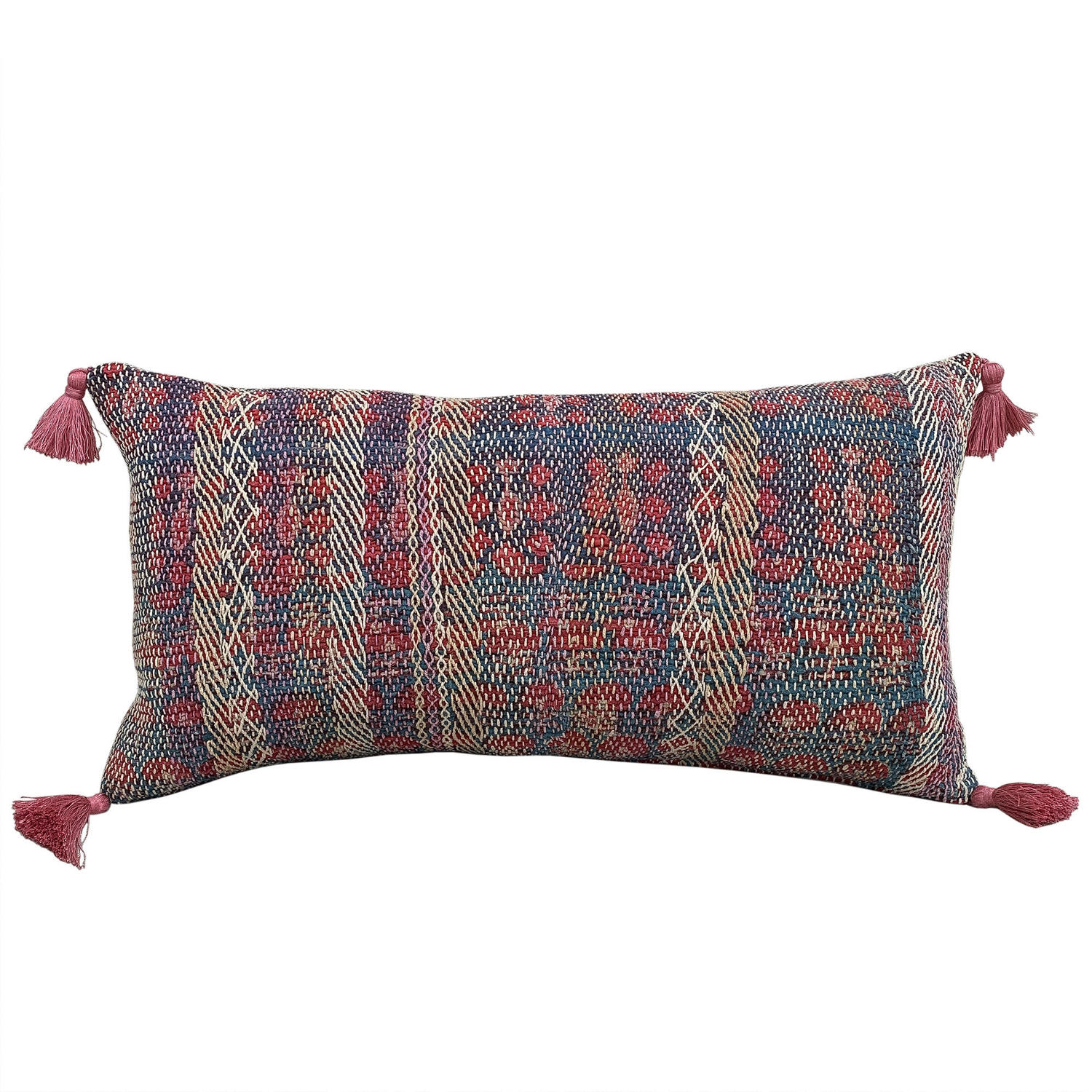 Banjara cushion with pink tassels