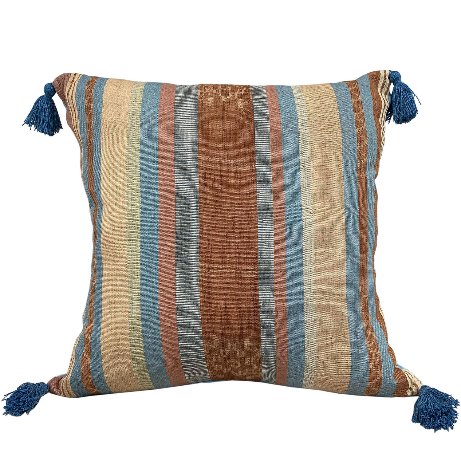Flores ikat cushion with blue tassels