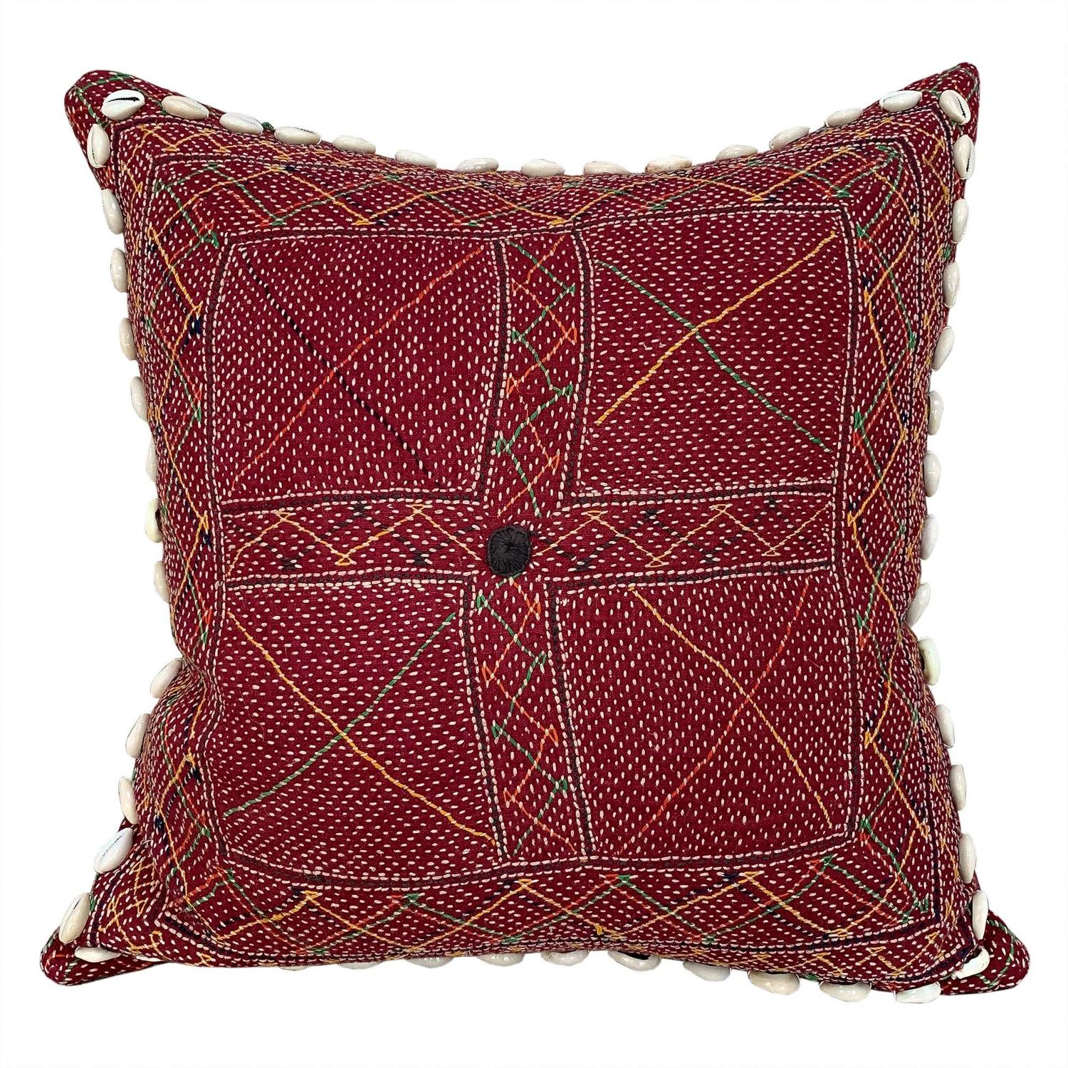 Banjara kalchi cushion with cowries