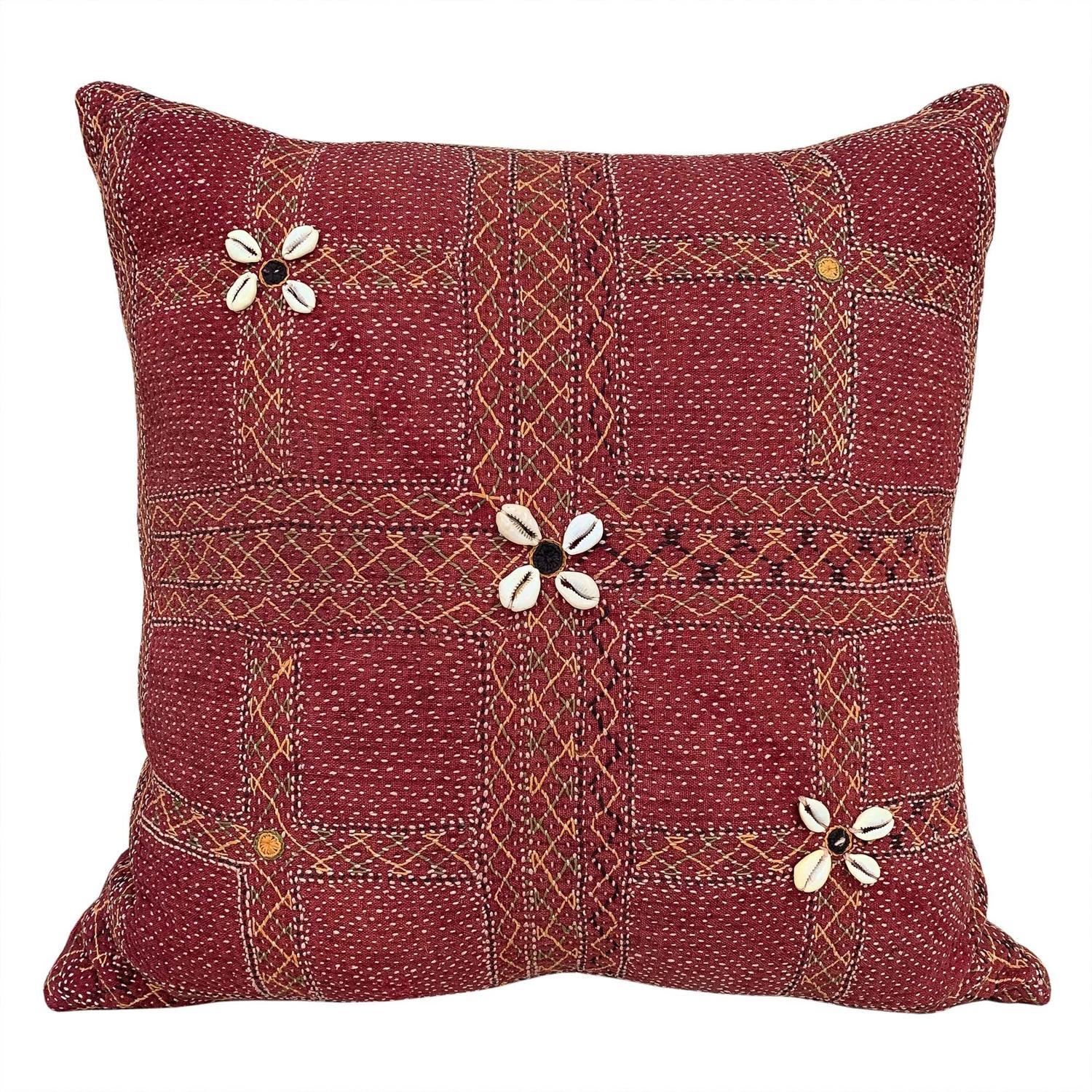 Banjara kalchi cushion with cowrie flowers