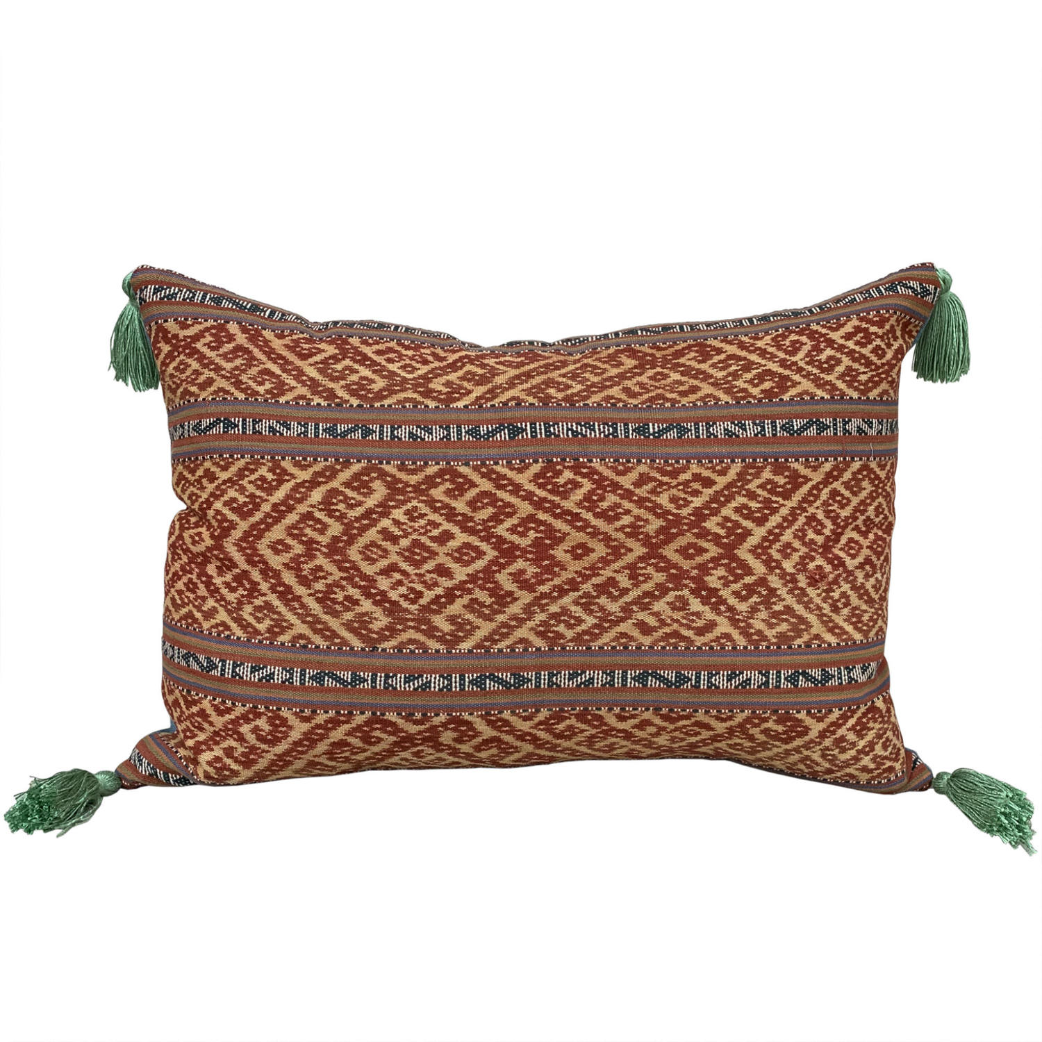 Timor ikat cushion with green tassels