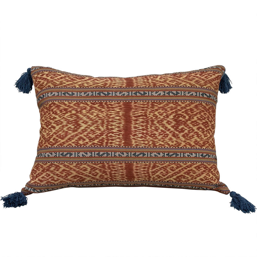 Timor ikat cushions with blue tassels