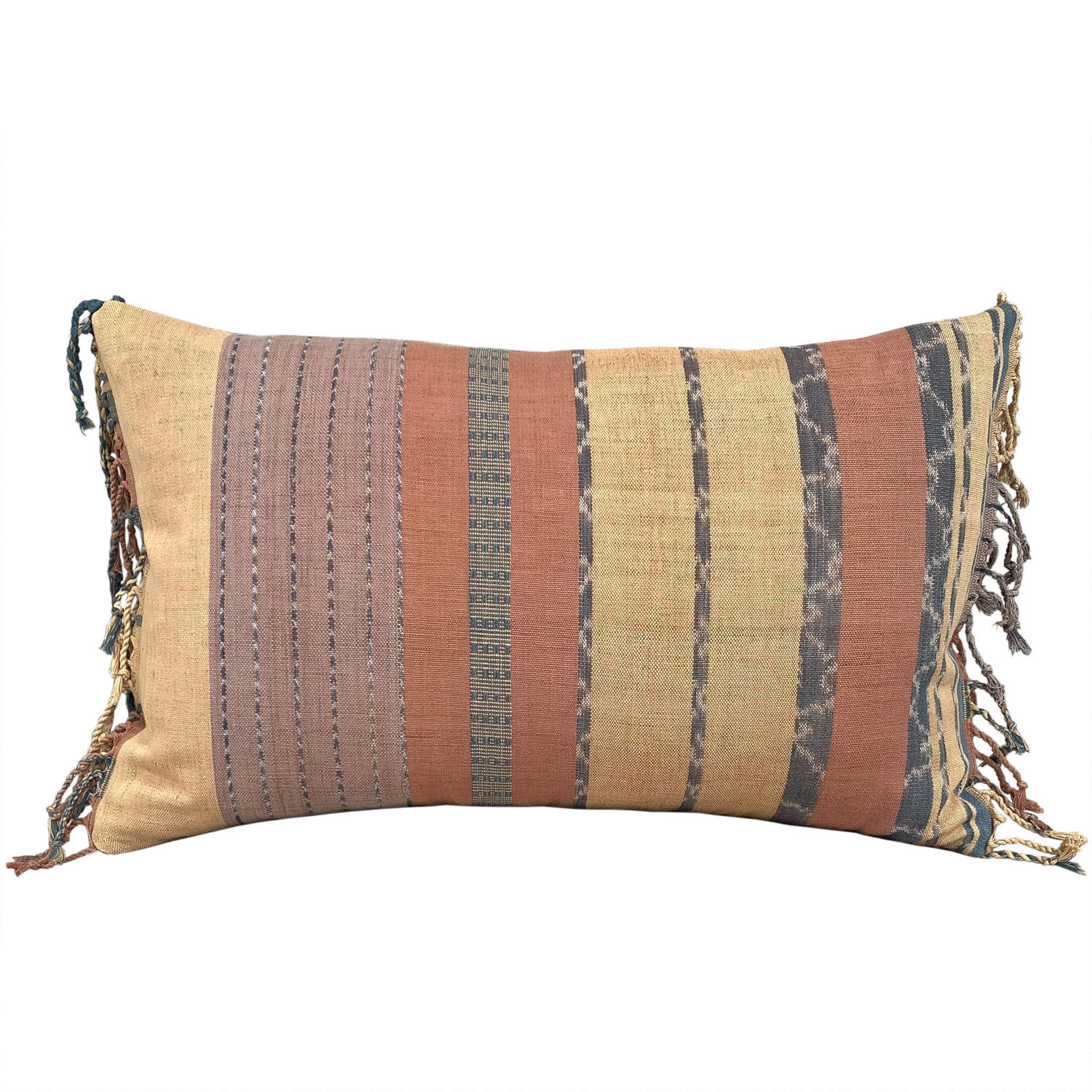 Flores ikat cushion with fringed ends
