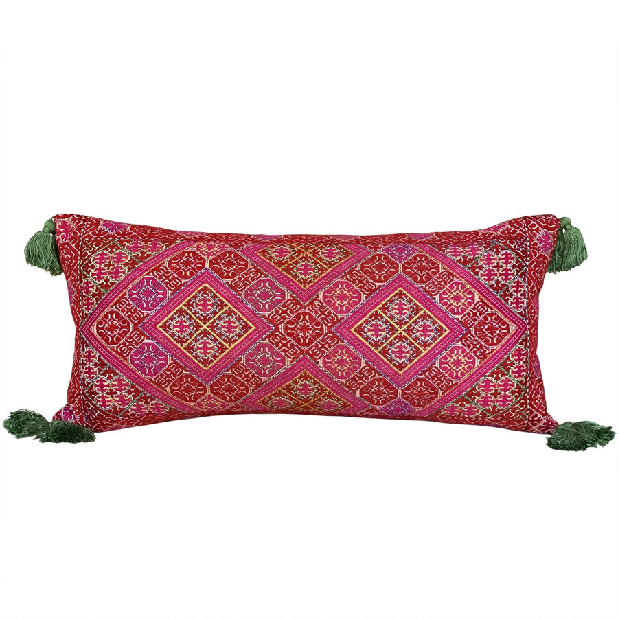 Swat Valley cushion with green tassels