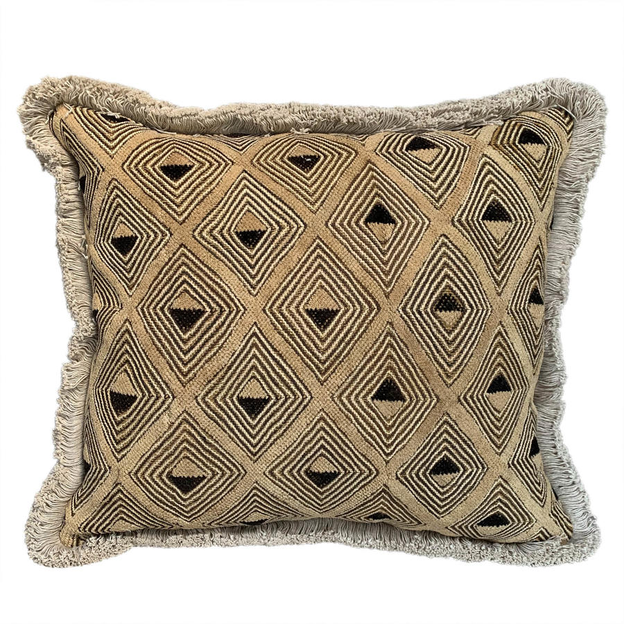 Kuba cloth cushion with fringe trim