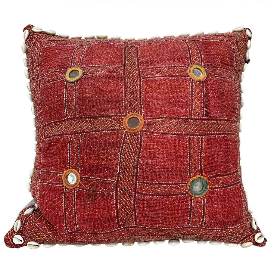 Red Banjara kalchi cushion