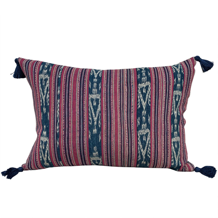 Cochineal ikat cushion