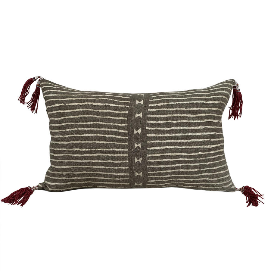 Mud cloth cushions with Azeri tassels