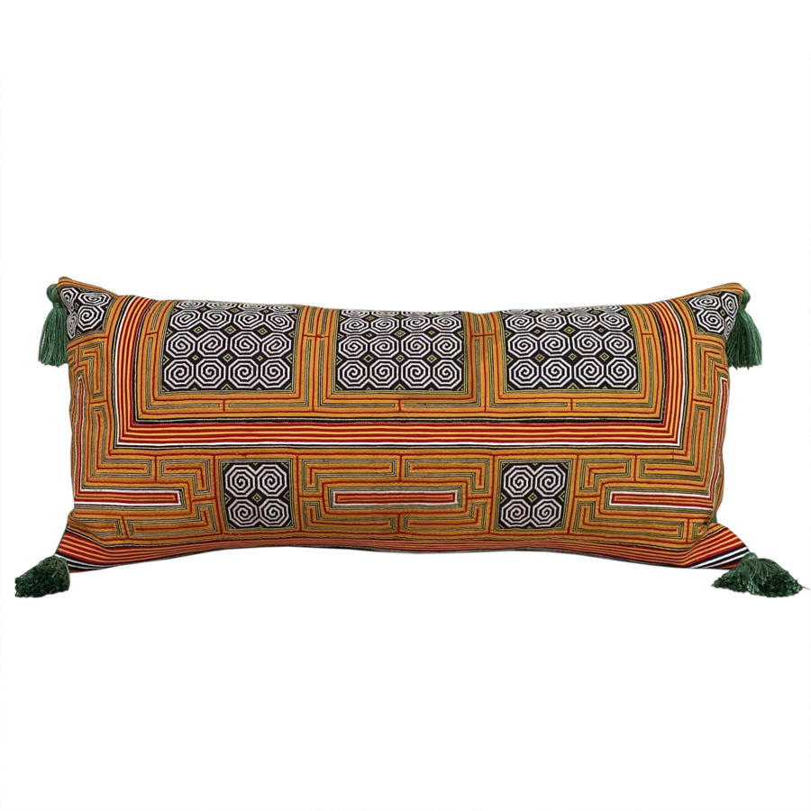 Miao collar cushion with tassels