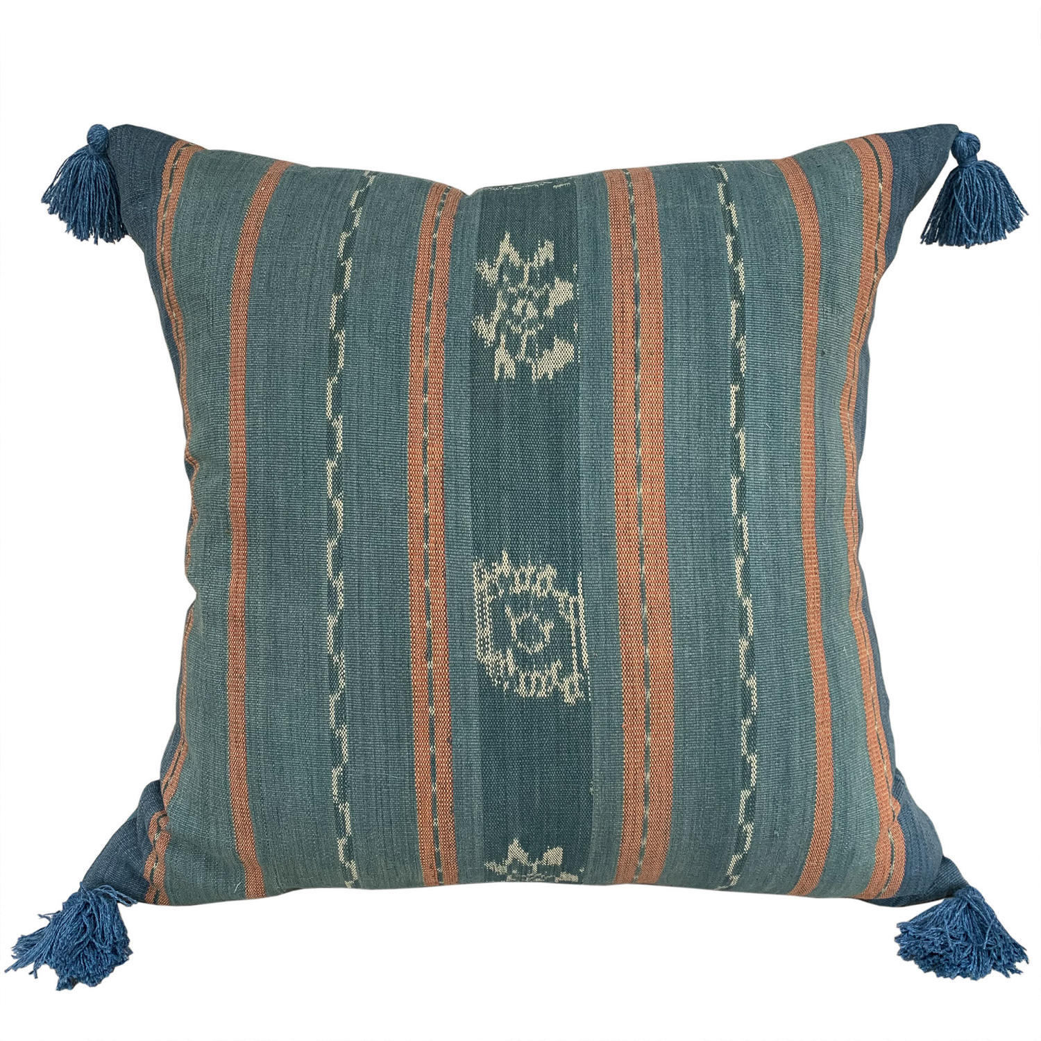 Large Flores ikat cushions with tassels