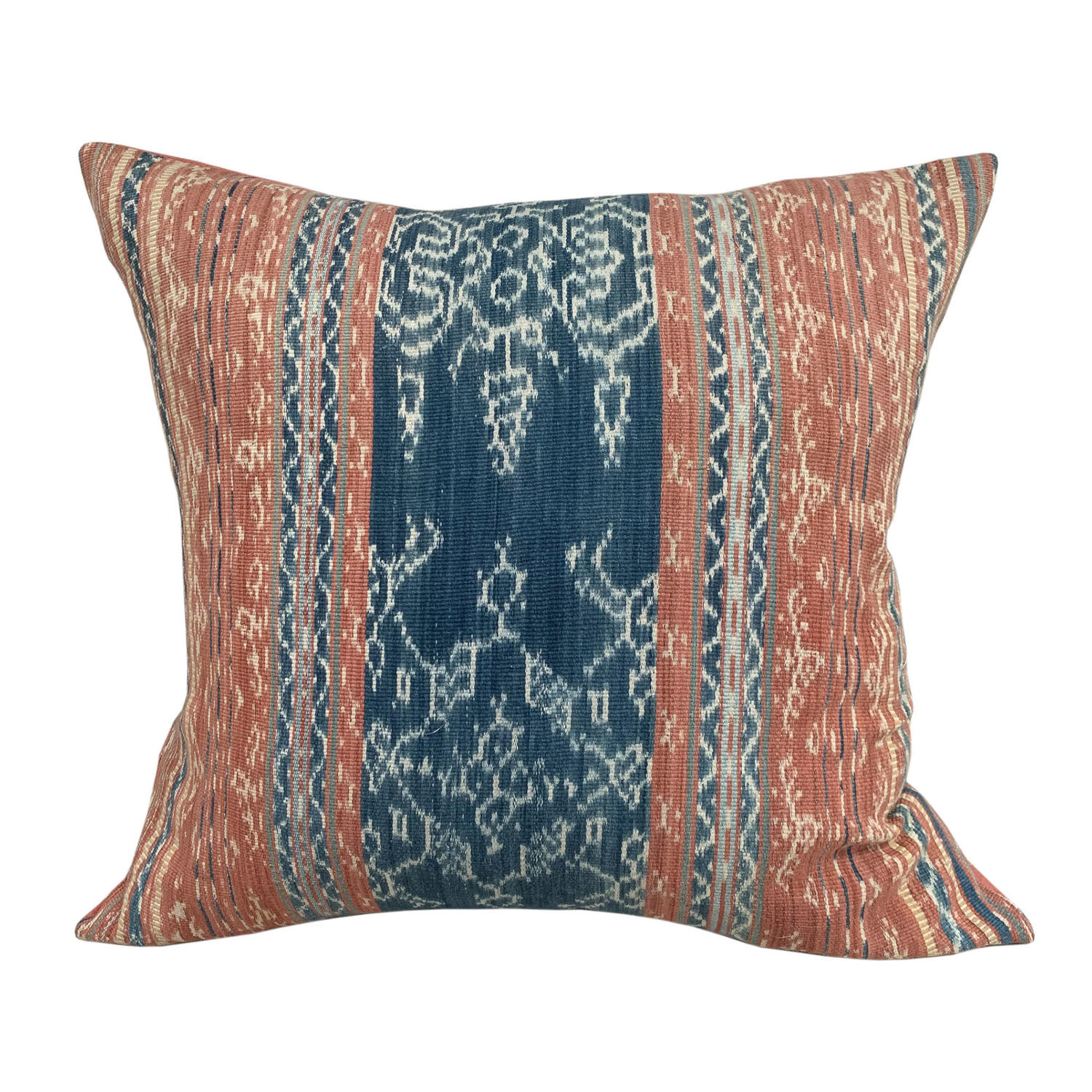 Flores ikat cushion coral and blue