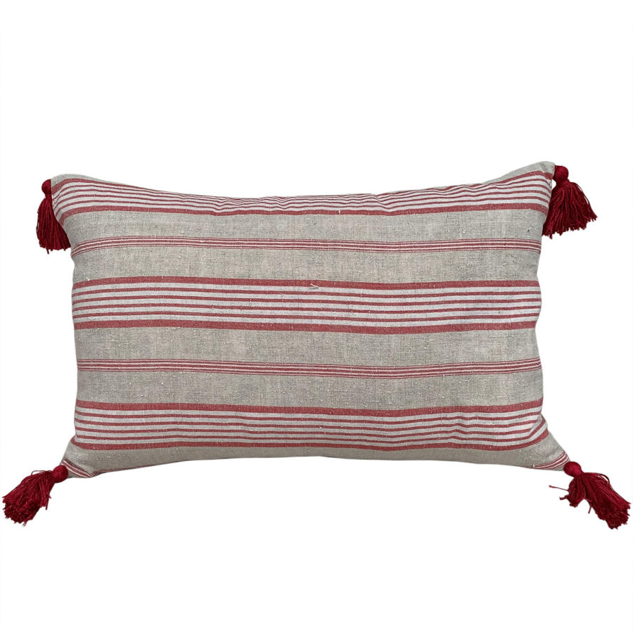 Ticking cushions with tassels