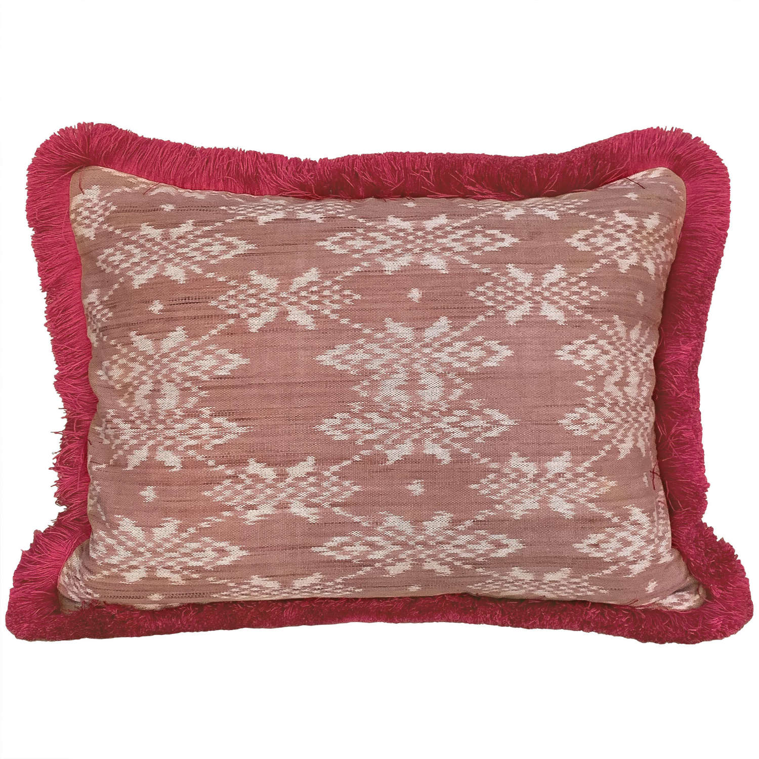 Rote ikat with pink fringe trim