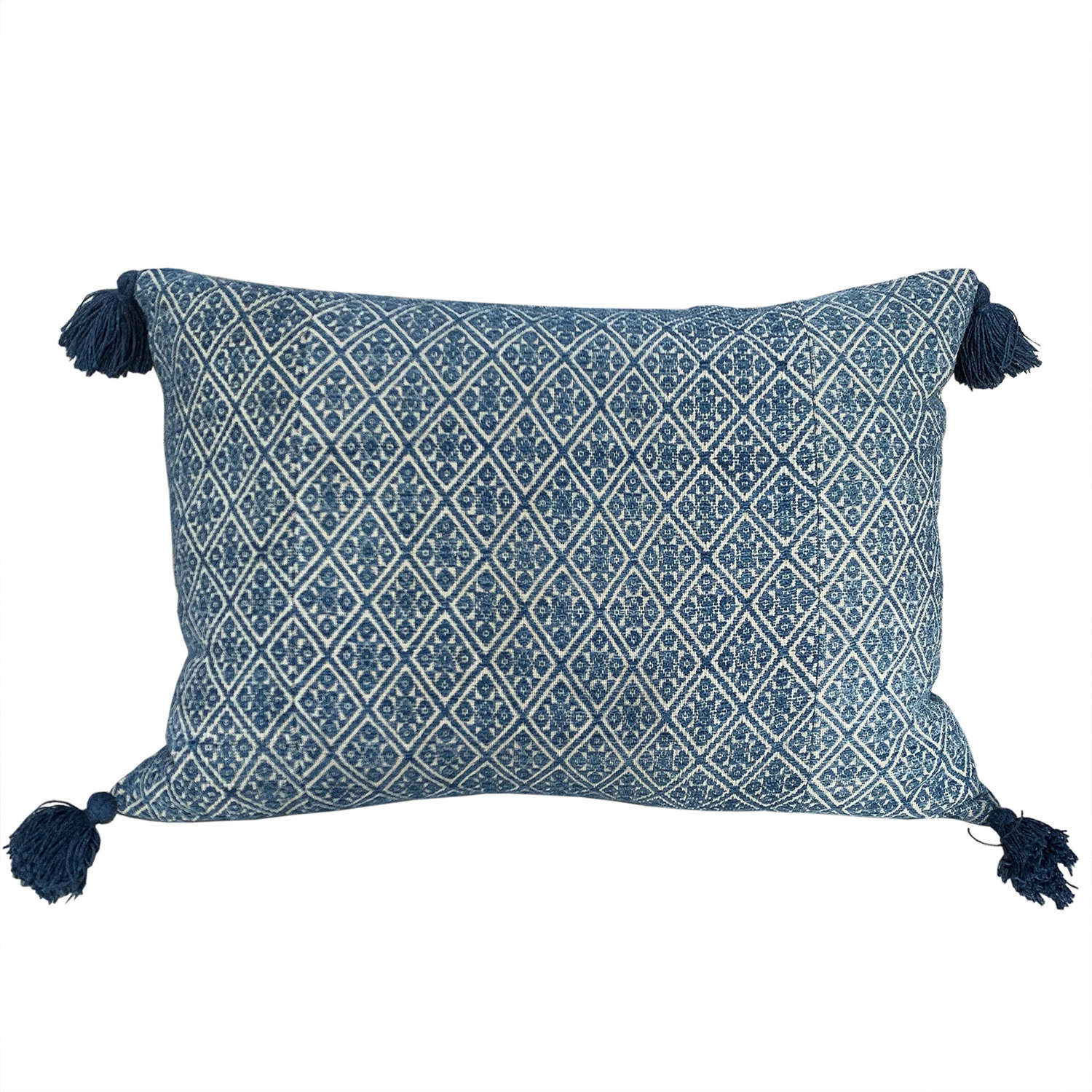 Indigo Zhuang cushions with tassels