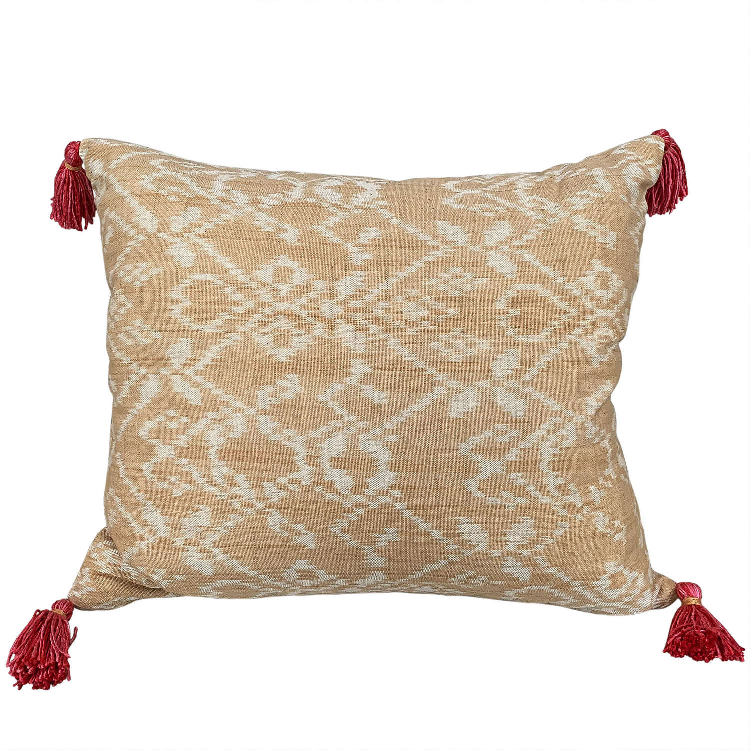 Rote ikat cushion with pink tassels