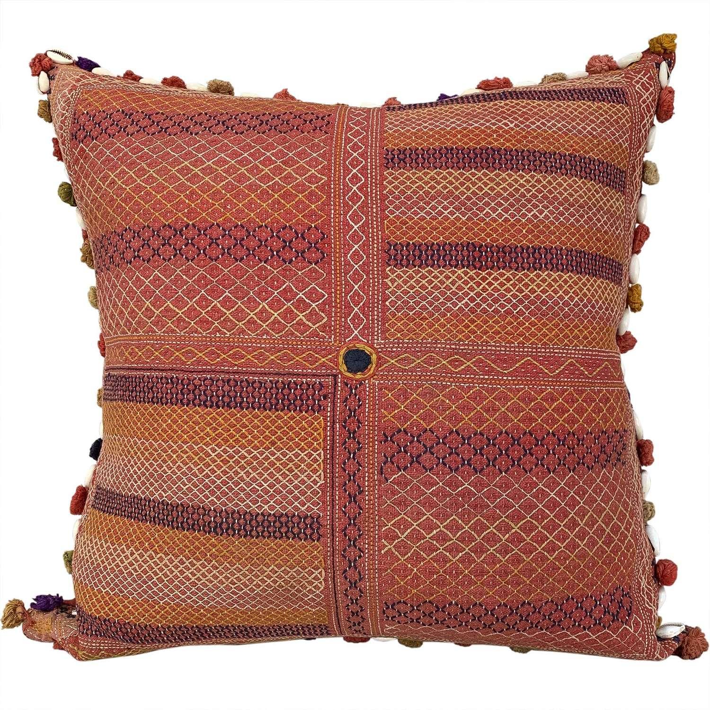 Banjara kalchi cushion with cowries and tassels