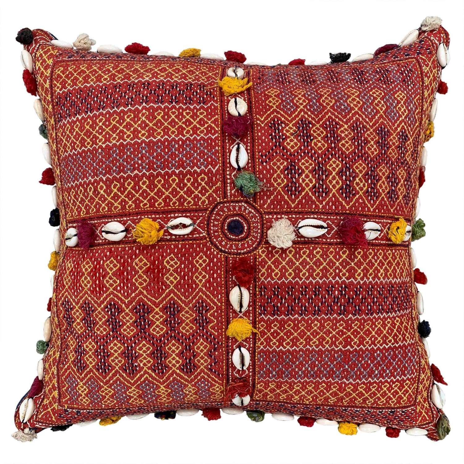 Banjara kalchi cushion with cowries and tassels
