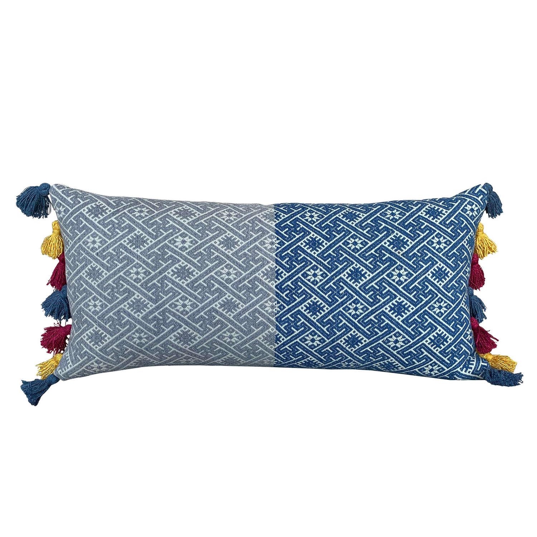 Wedding blanket cushion with tassels