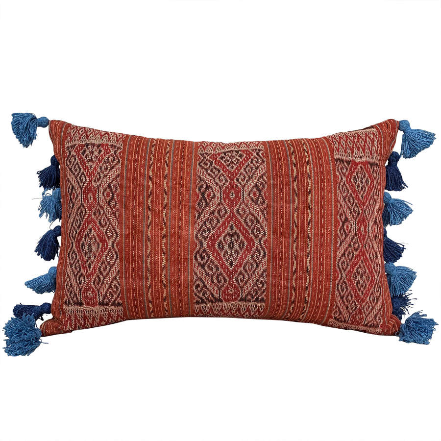 Timor ikat cushions with tasselled sides