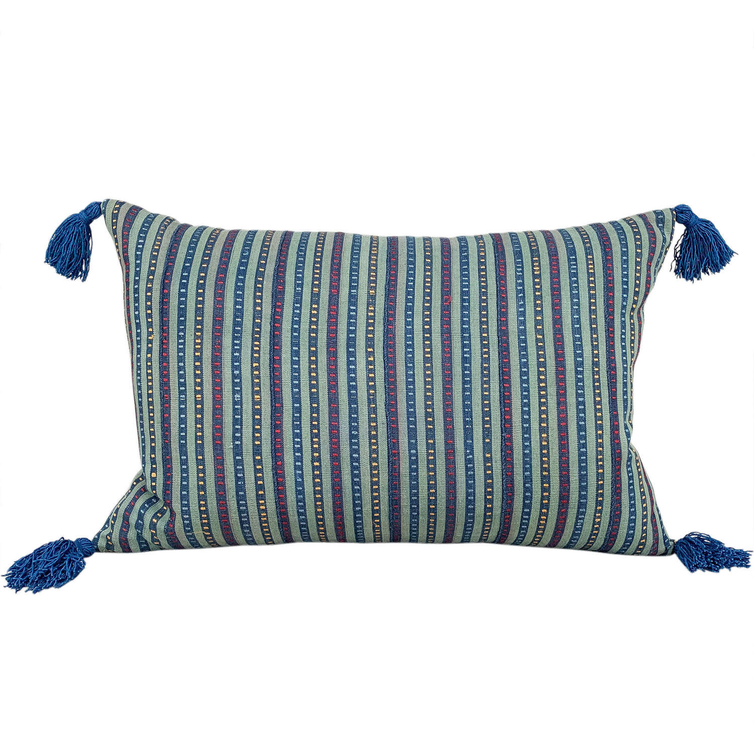 Green Ewe cushion with blue tassels