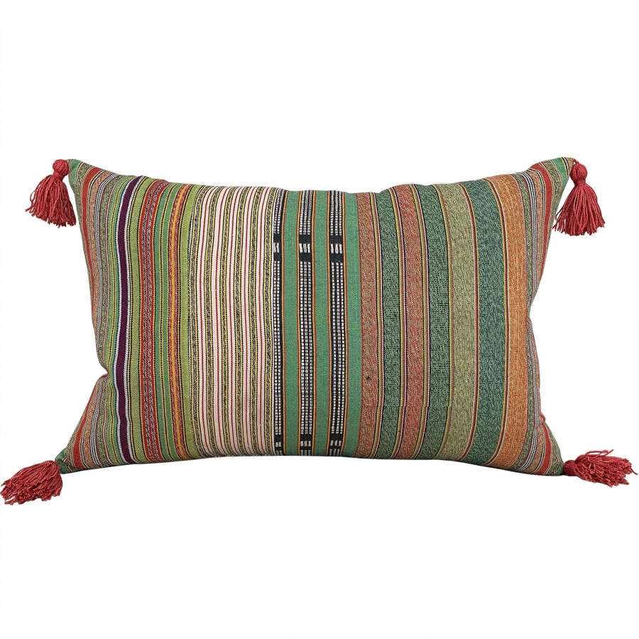 Orange and green Ewe cushion with tassels