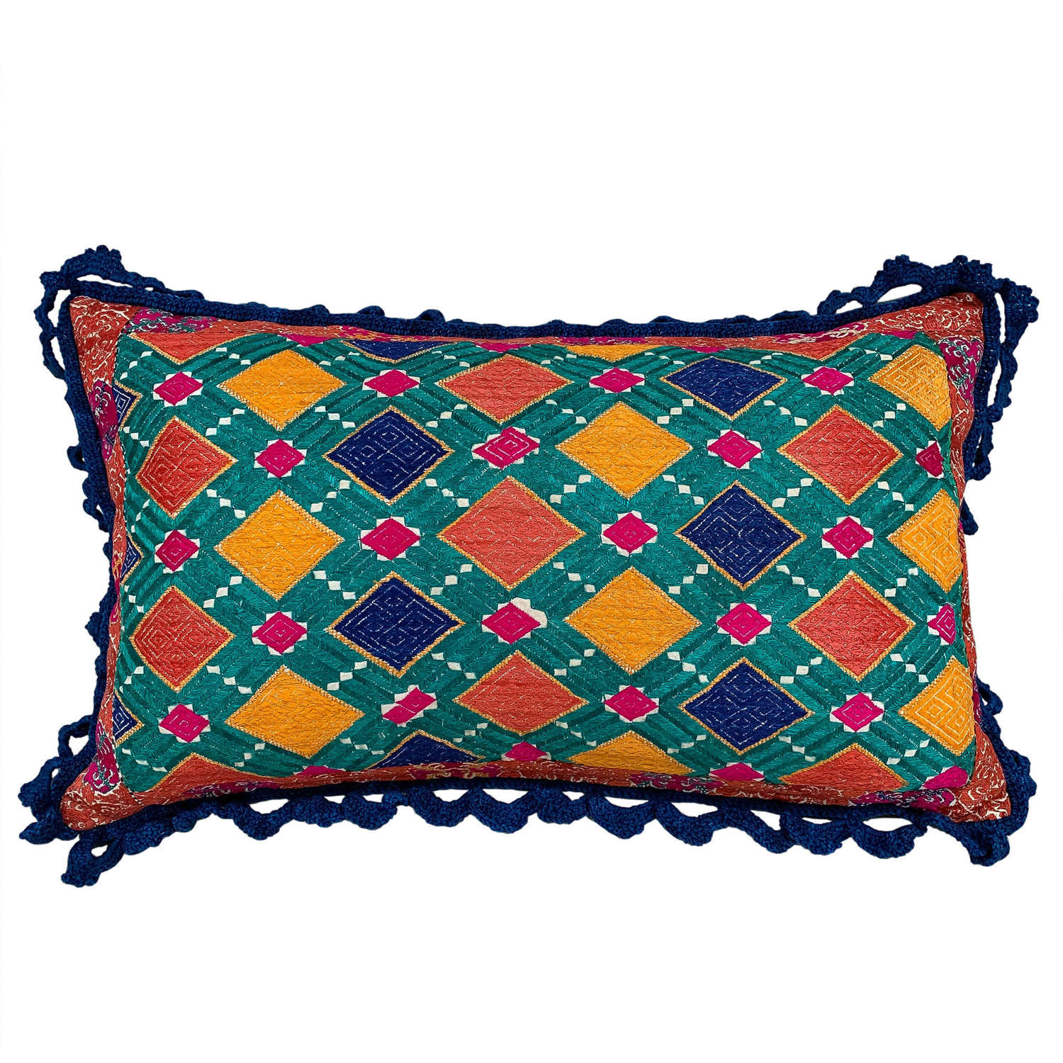 Swat cushion with crochet trim