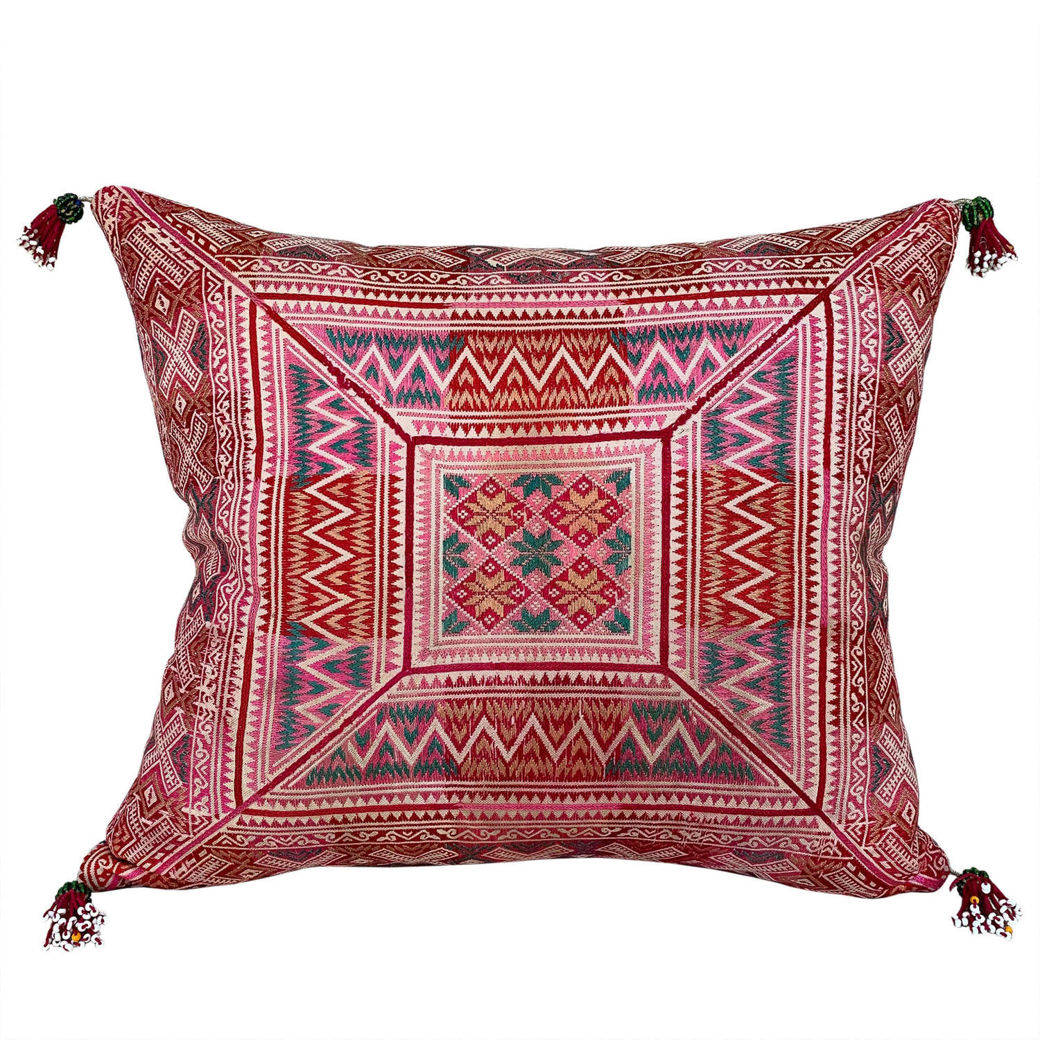 Small cushion with beaded tassels