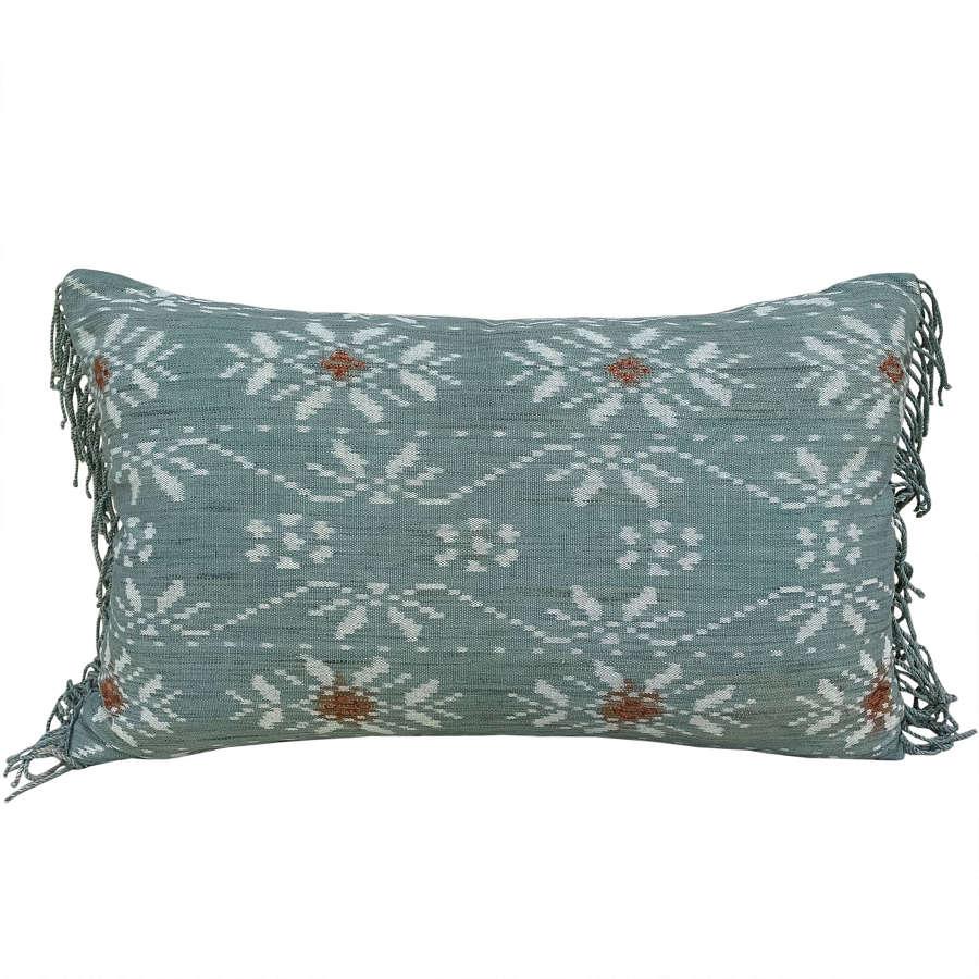 Rote ikat cushion, acqua