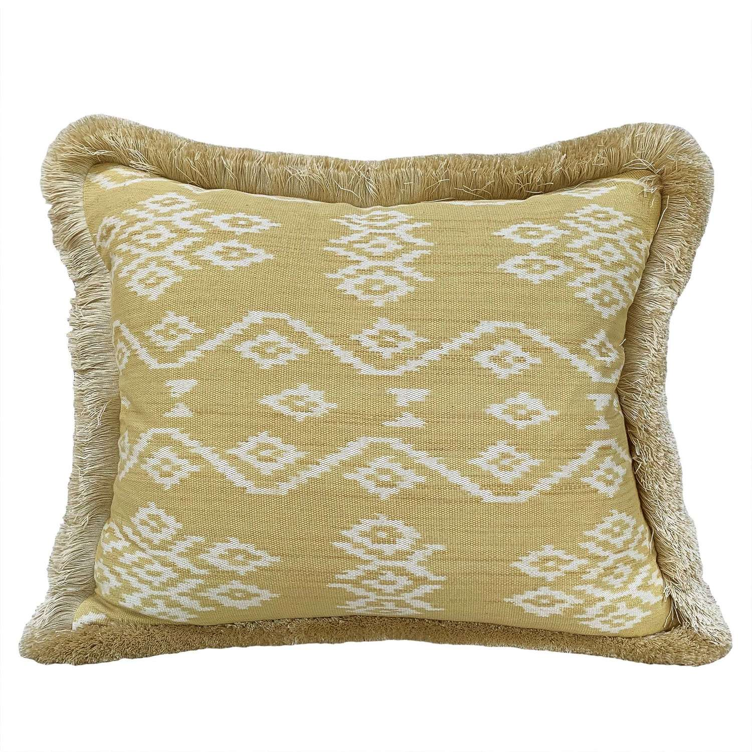 Rote ikat cushion with brush fringe
