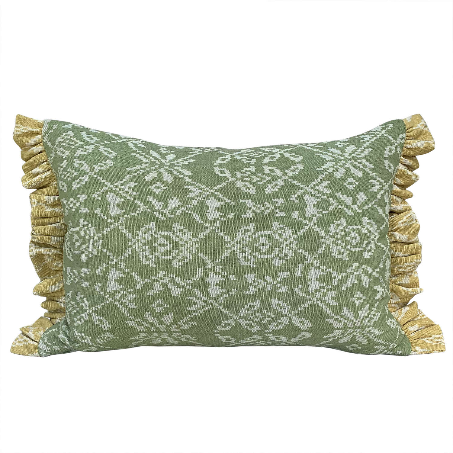 Rote ikat cushion, green with yellow trim
