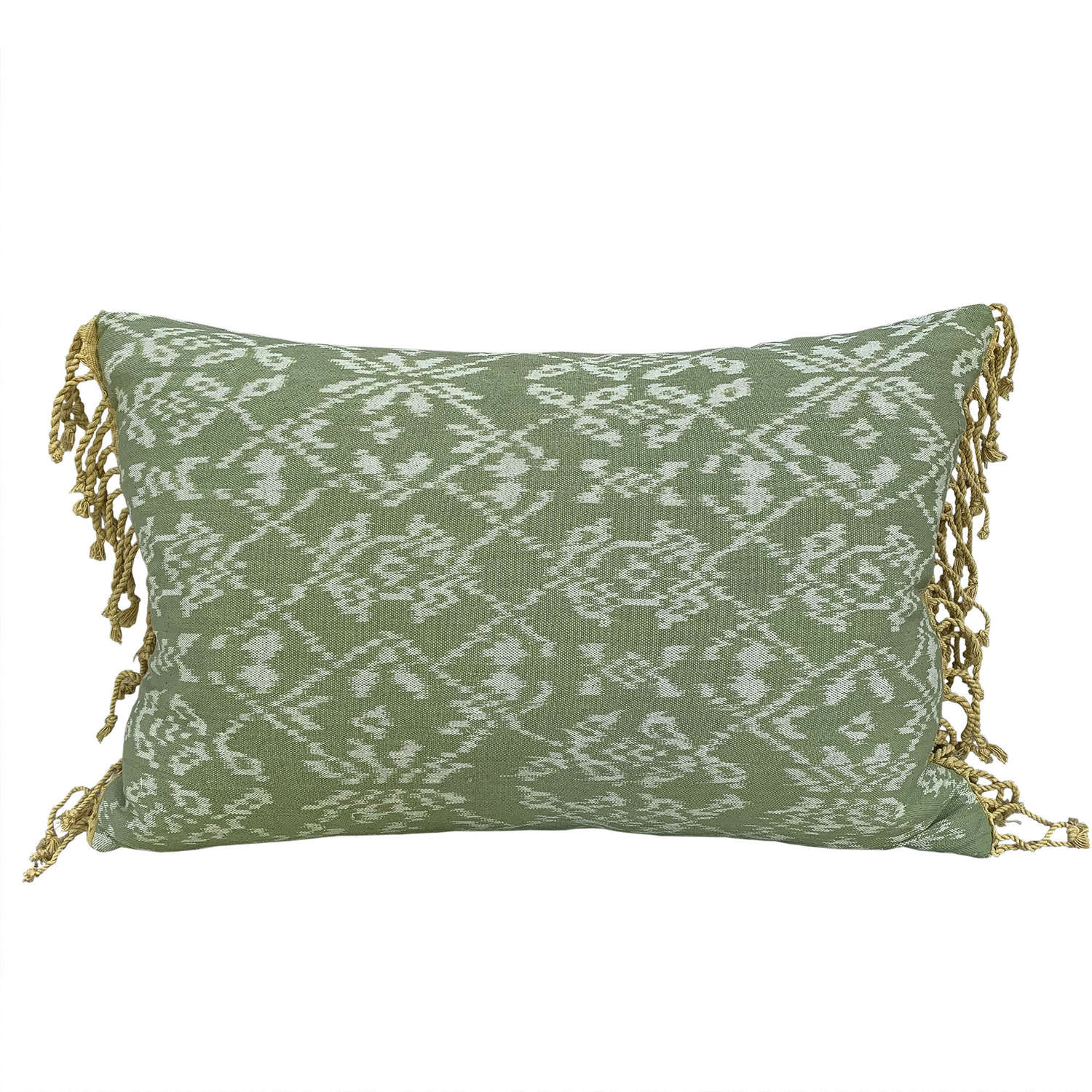 Rote ikat cushion green with yellow tassels