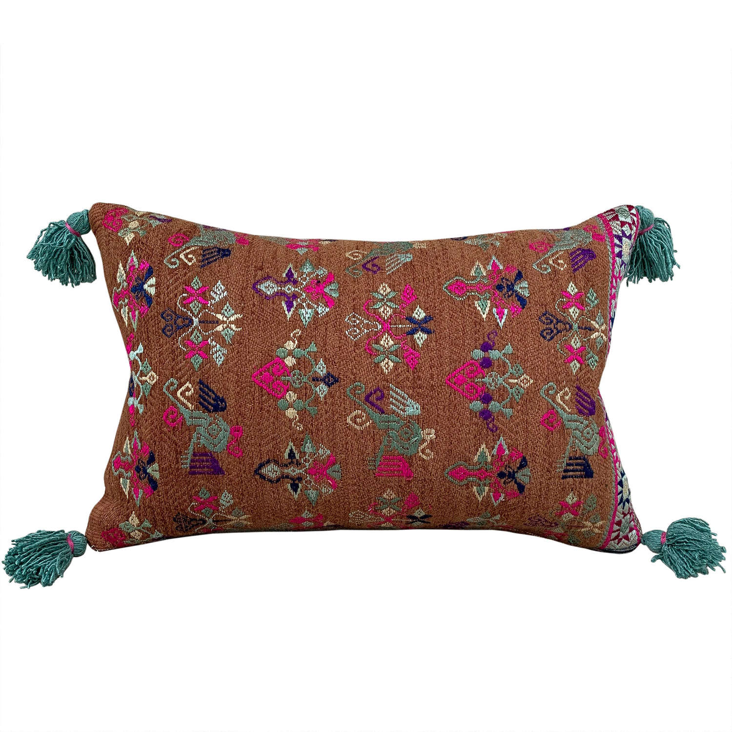 Maonan Cushion with Green Tassels