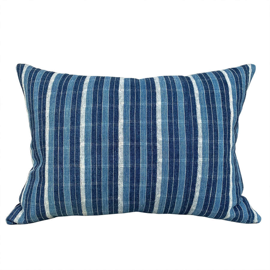 Ivory Coast indigo striped cushion