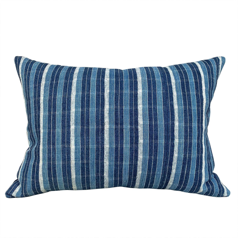 Ivory Coast indigo striped cushion