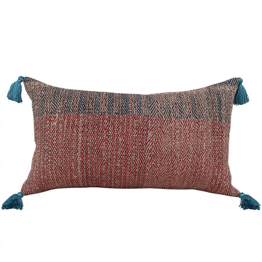 Banjara cushion with teal tassels