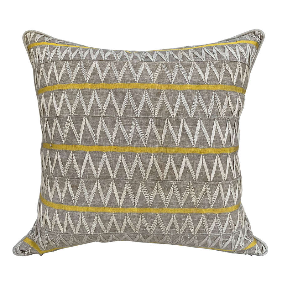 Yoruba Zig Zag cushions with yellow stripe