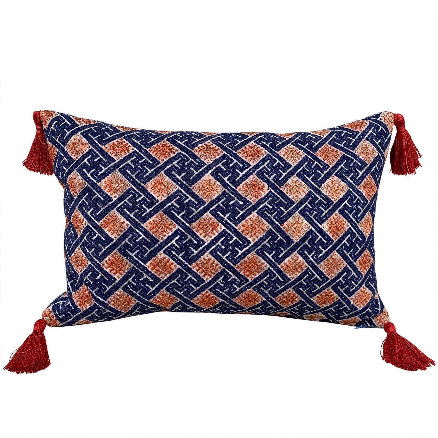 Indigo & Orange cushion with rust tassels